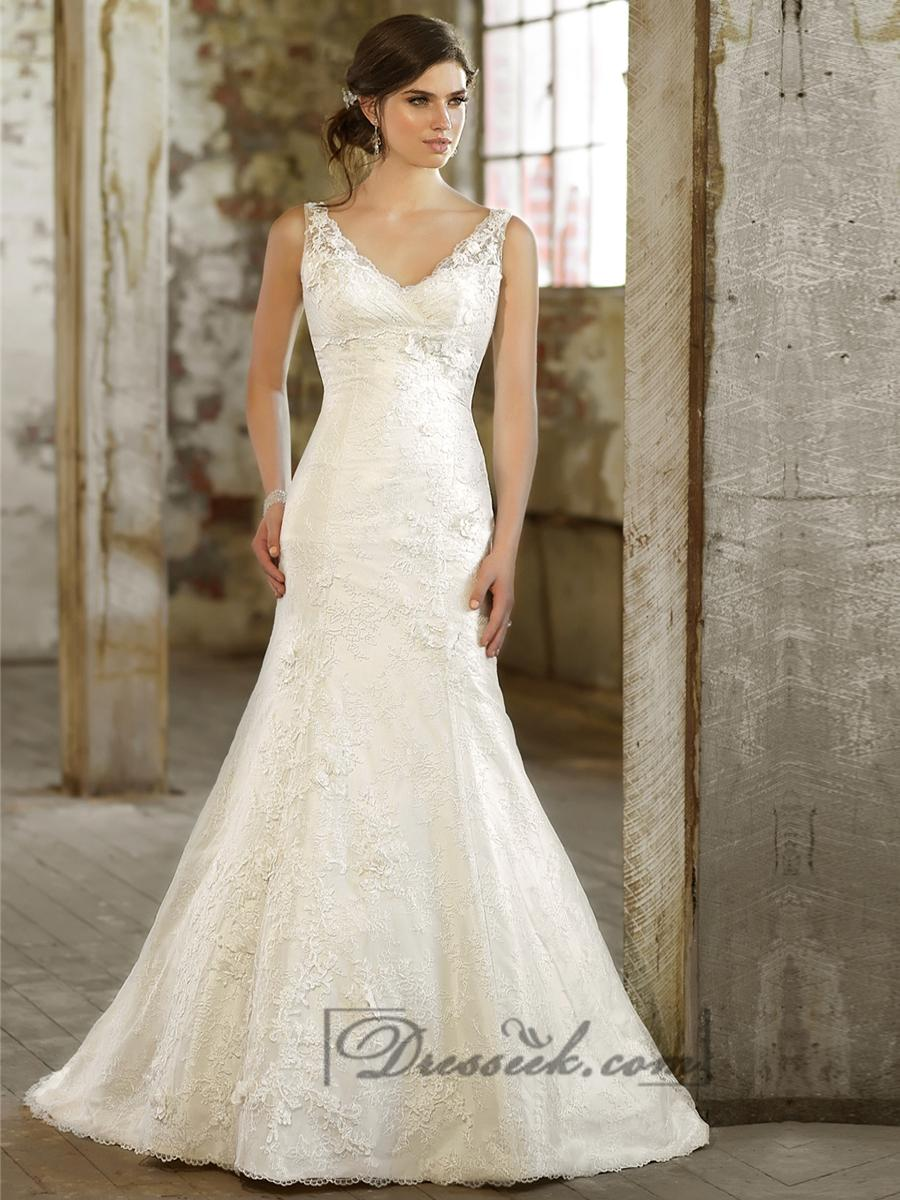 Lace Over Straps V Neck Trumpet Wedding Dress