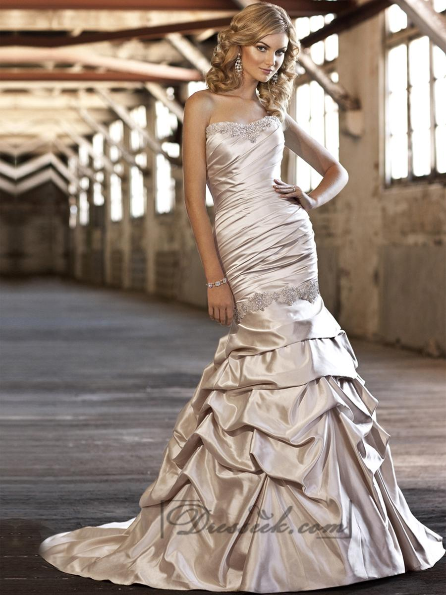 Wedding - Flattering Trumpet Beaded Sweetheart Ruched Bodice Wedding Dress