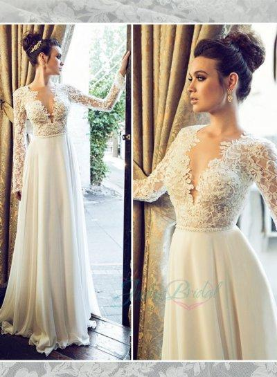Jol222 Sexy Backless See Through Lace Top Long Sleeves Bridal