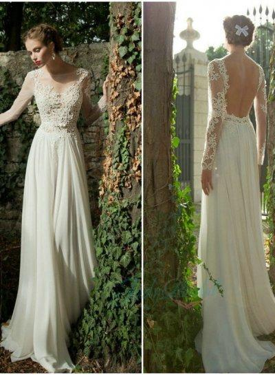 JOL221 Sexy Sheer Lace Top Backless Long Sleeved Wedding Dress ...