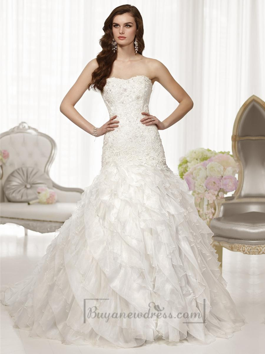 Fit And Flare Semi Sweetheart Neckline Wedding Dresses With Pleated ...