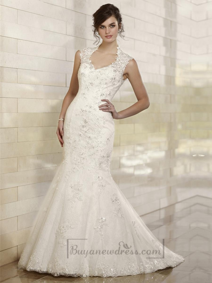 fit and flare queen anne neckline embroidered wedding