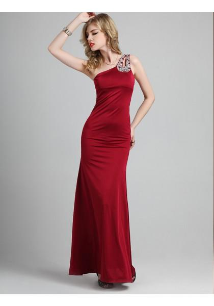 Свадьба - Sheath Column One Shoulder Floor Length Red Evening Dress
