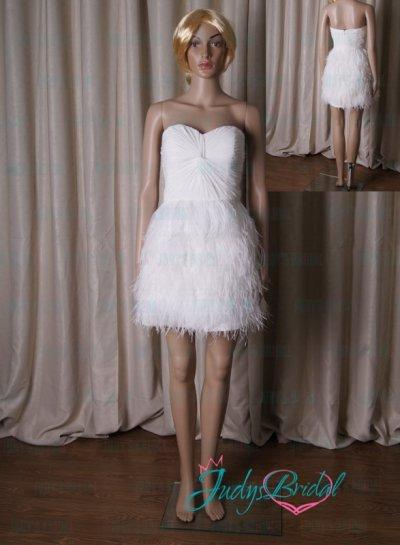 Lj190 Little White Short Ostrich Feathers Party Prom Dress 2196281