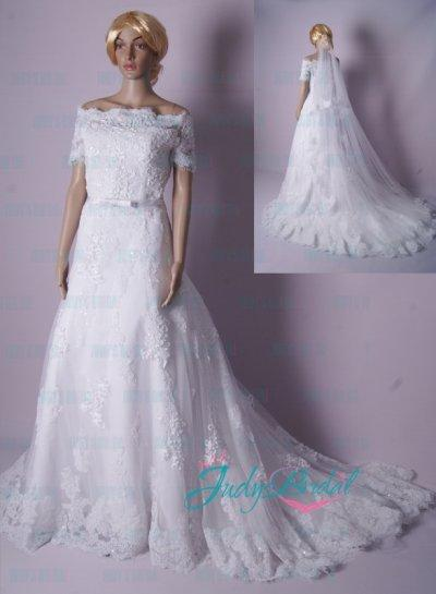 Hochzeit - LJ186 modest off shoulder short sleeve lace princess wedding dress