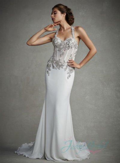 Düğün - JW15069 crystals halter backless illusion body sheath wedding dress