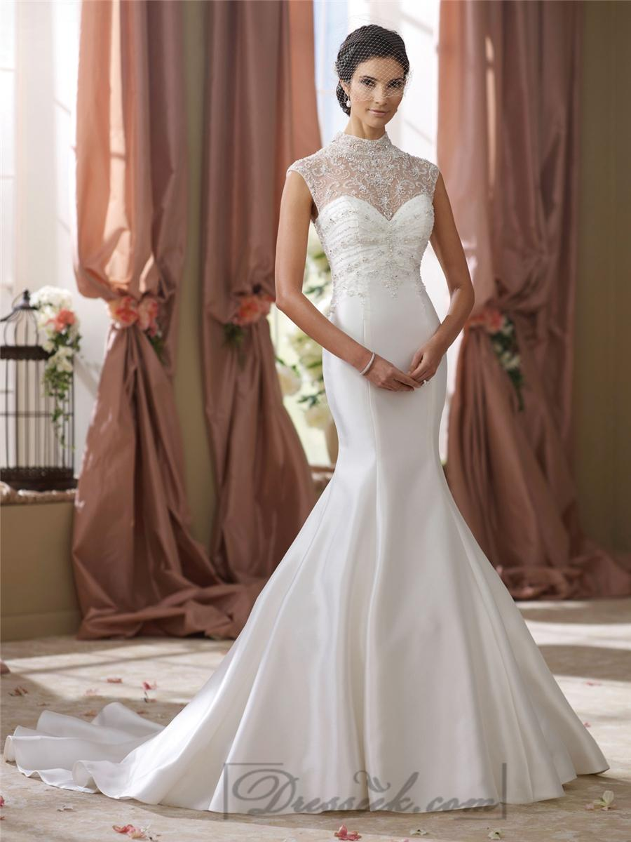 Свадьба - High Beaded Illusion Neckline Mermaid Wedding Dress