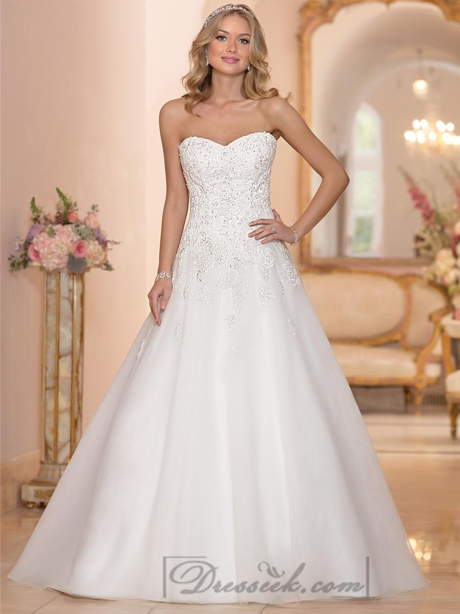 Strapless sweetheart embellished lace bodice a line for Strapless sweetheart wedding dresses