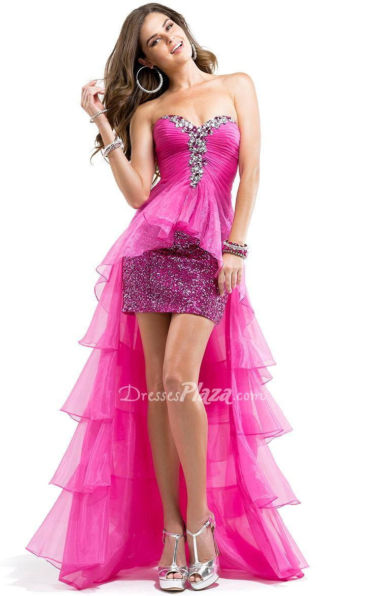 Strapless Sequin Mini Prom Dress With Organza High-low Overlay ...