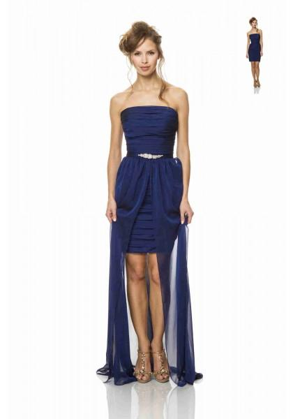 Wedding - Strapless High Low Blue Sheath Column Bridesmaid Dress