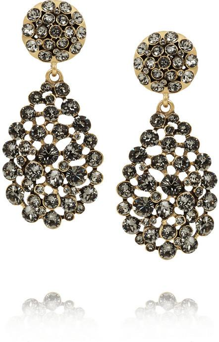 Mariage - Oscar de la Renta Gold-plated crystal earrings