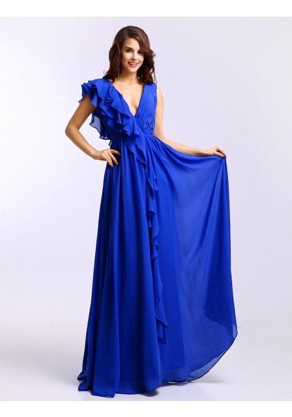 Свадьба - V Neck Floor Length Sleeveless A Line Evening Prom Dress