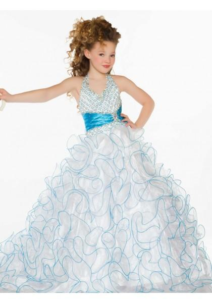Wedding - Halter Sweep Train Organza White Ball Gown Girls Pageant Dress