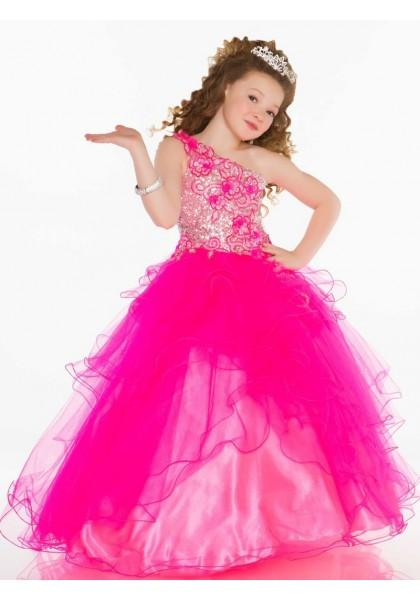 Свадьба - One Shoulder Sweep Train Tulle Red Ball Gown Girls Pageant Dress