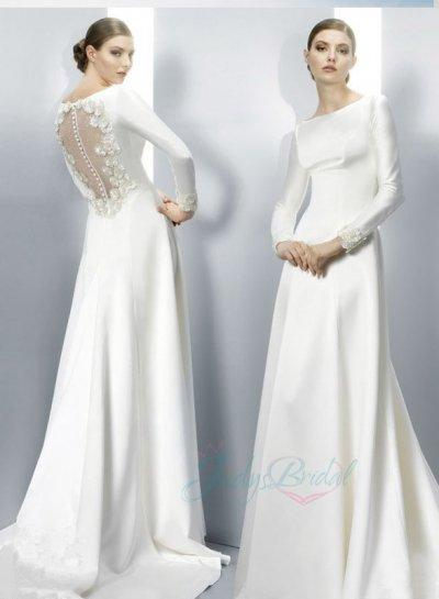 Jol251 Elegant Simple Cheap Bateau Sheer Back Long Sleeved Wedding