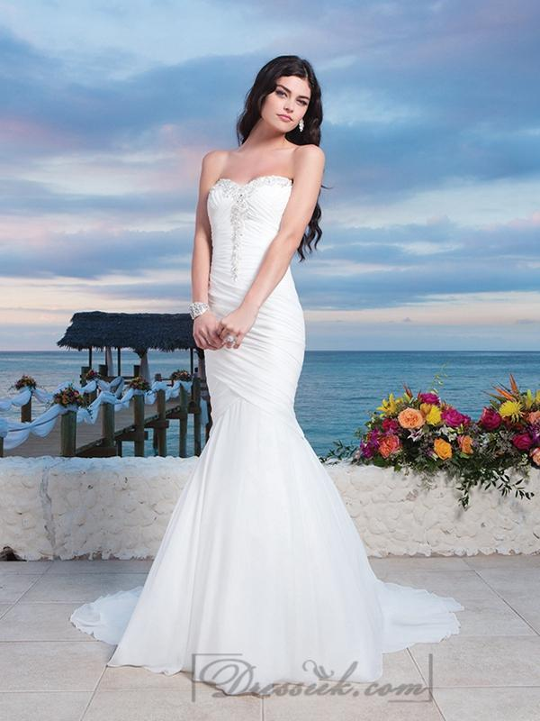 Chiffon Center Bodice Ruched Asymmetrical Mermaid Wedding Gown With ...
