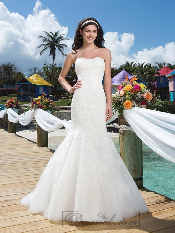 Wedding - Beaded Lace Mermaid Wedding Gown With A Soft Tulle Neckline And Organza Skirt