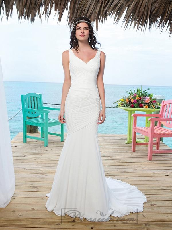 Hochzeit - Chapel Length Train Chiffon Mermaid Wedding Gown With Asymmetric Embellishment Back