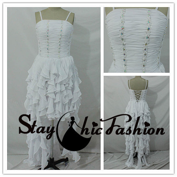 Свадьба - White Pleated Ruffled High Low Prom Dress, White Spaghtti Straps Ruffled Hi Lo Homecoming Dress