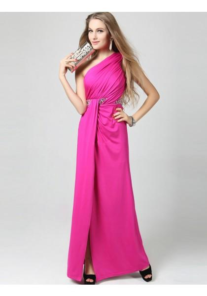 Wedding - Sheath Column One Shoulder Floor Length Red Evening Dress