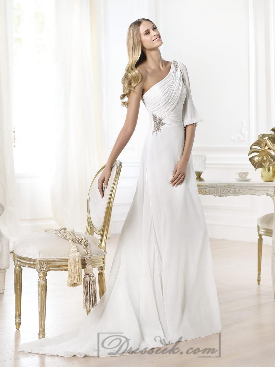 Mariage - Stunning One-shoulder Draped A-line Wedding Dresses with Opened Shoulder-length Sleeve