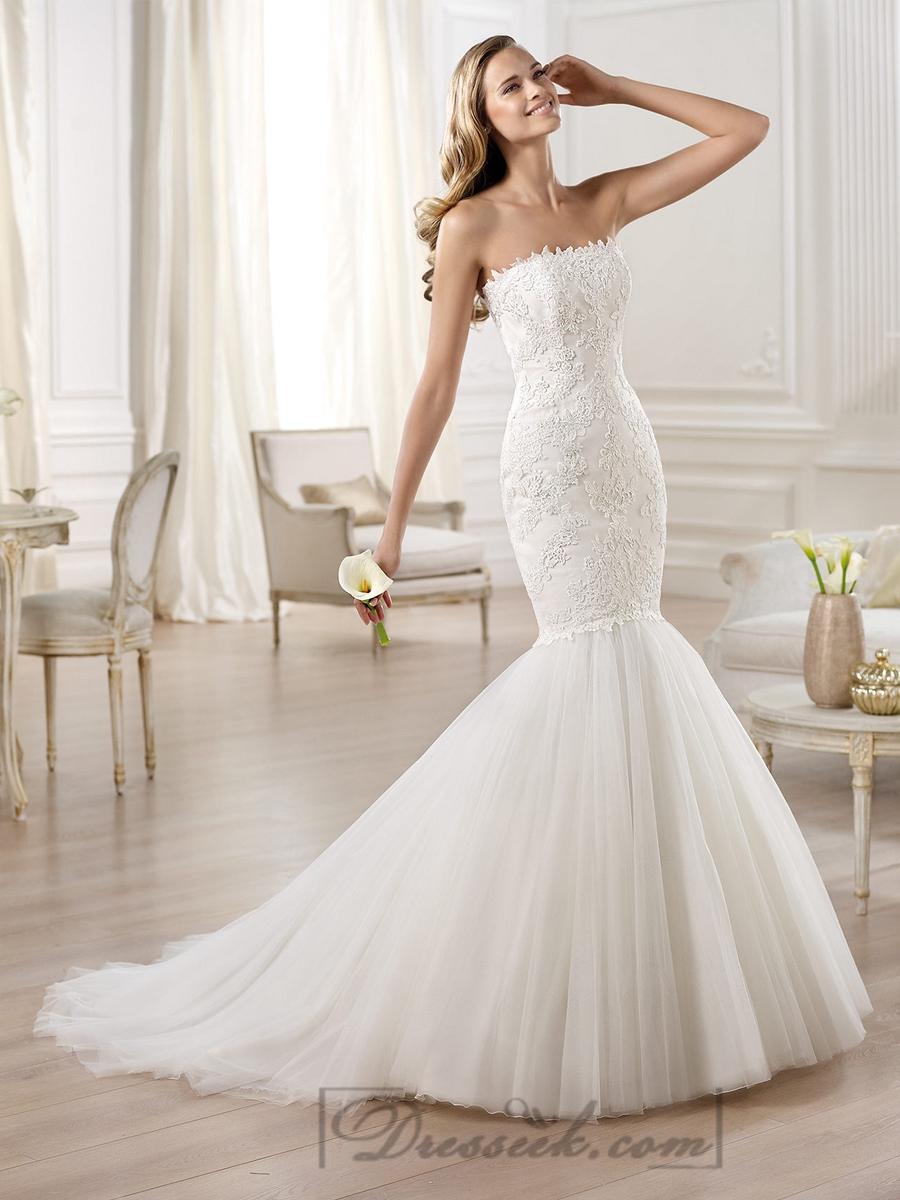 mermaid wedding dresses with sweetheart neckline and crystals strapless mermaid wedding dresses Strapless Mermaid Wedding Dresses Featuring Applique Crystal