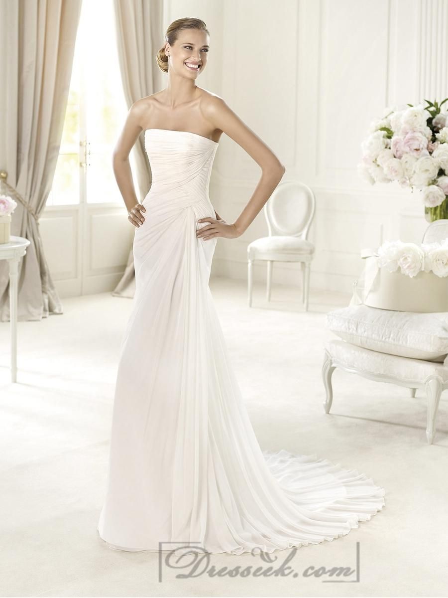 Exquisite Strapless Draped Wedding Dresses With Flattering Lace Up