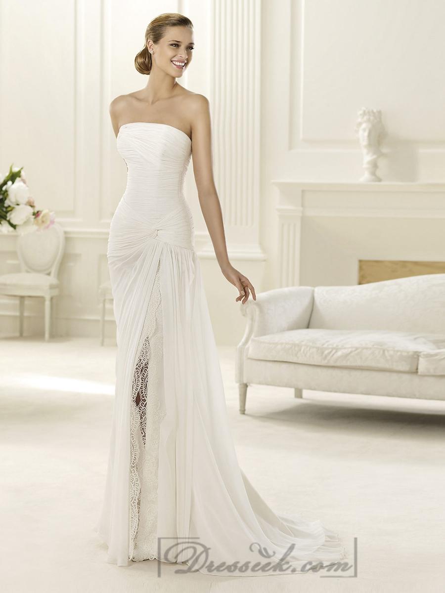 2014 Charming Flattered Strapless Draped Wedding Dresses With Split Skirt 21