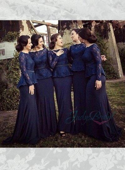 Hochzeit - LJ14141 navy blue lace long sleeved chiffon mother of bride bridesmaid dress