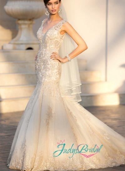 Mariage - JW15022 sexy strappy plunging v neck lace mermaid wedding dress