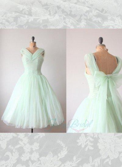 LJ14143 Light Green Mint Color Tea Length Vintage Party Prom Dress ...