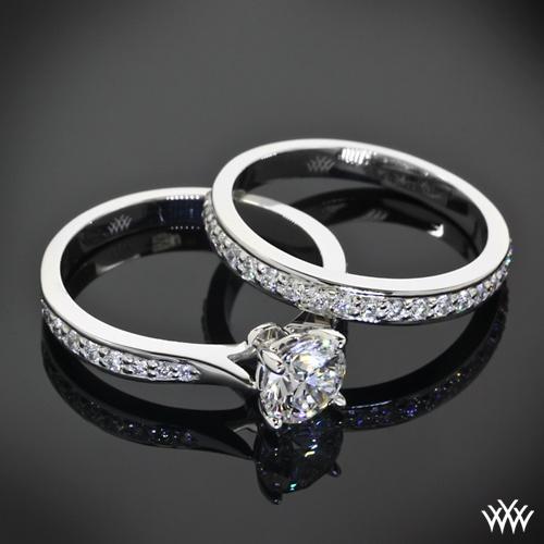 """Mariage - 18k White Gold """"Legato Sleek Line Pave"""" Diamond Engagement Ring & Wedding Ring"""