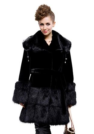 Wedding - Black faux mink fur with faux black beaver fur collar long fur coat