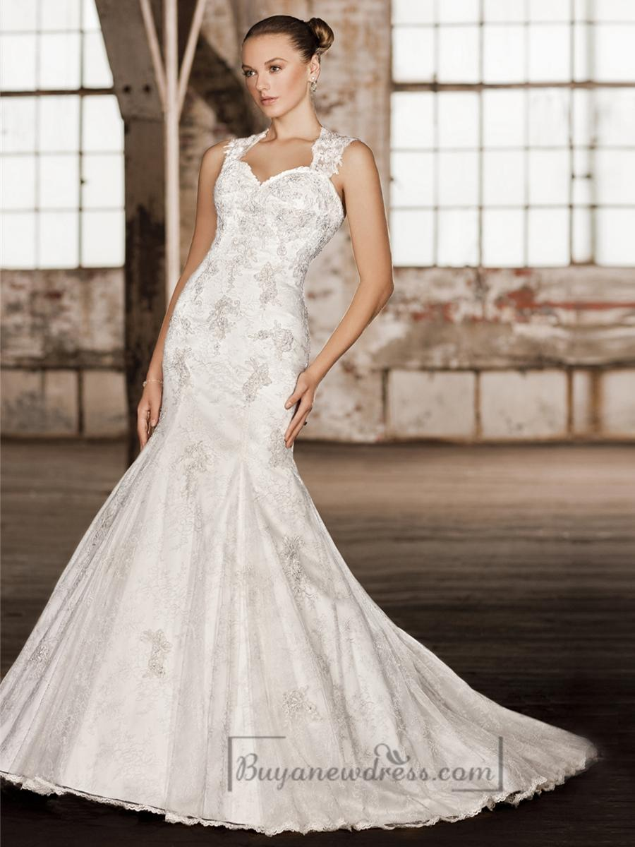 Mariage - Stunning Straps Trumpet Lace Wedding Dresses with Keyhole Back