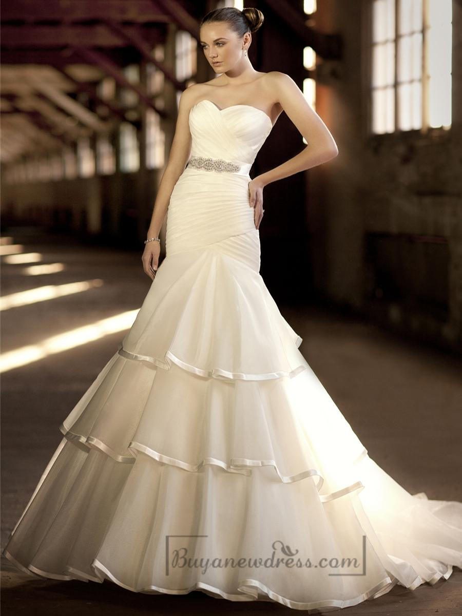 Cross Sweetheart Trumpet Wedding Dresses With Pleated Skirt #2197447 ...