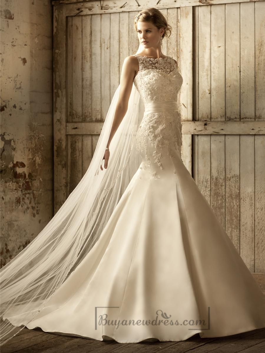 Stunning lace illusion bateau neckline trumpet vintage for Wholesale wedding dresses dallas tx