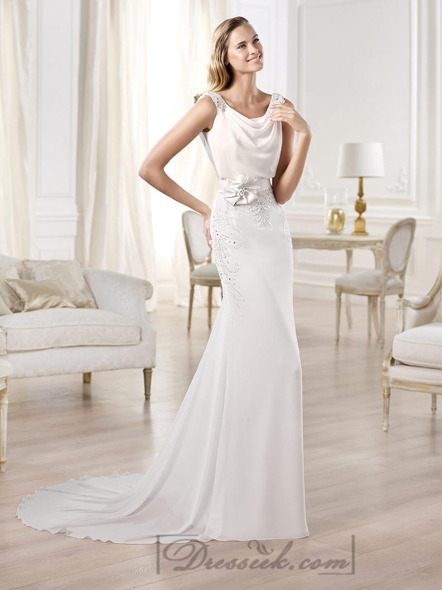 Wedding - Beaded Straps Draped Boat Neck And Back Wedding Dresses Featuring Applique