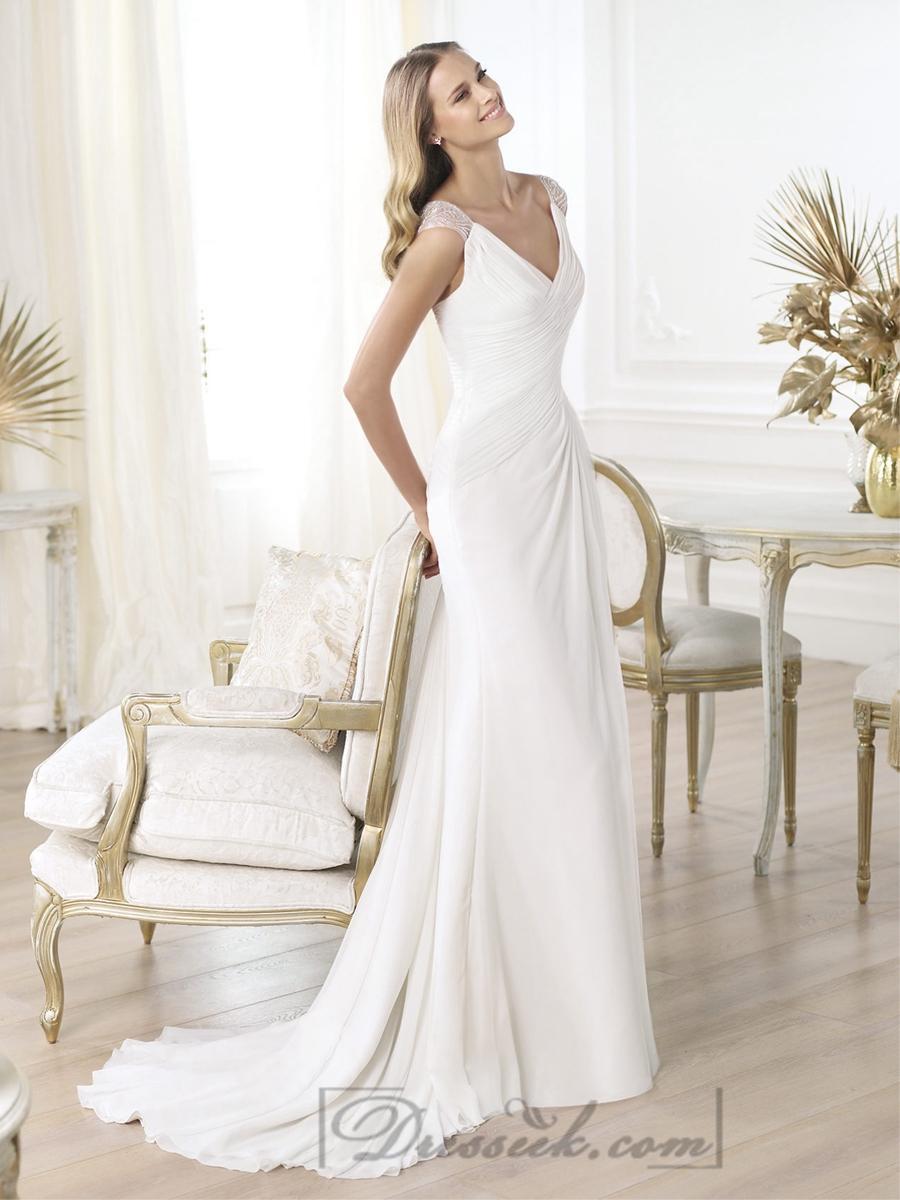 Свадьба - Elegant V-neck Draped Wedding Dresses with Semi-sheer Back Flared Skirt