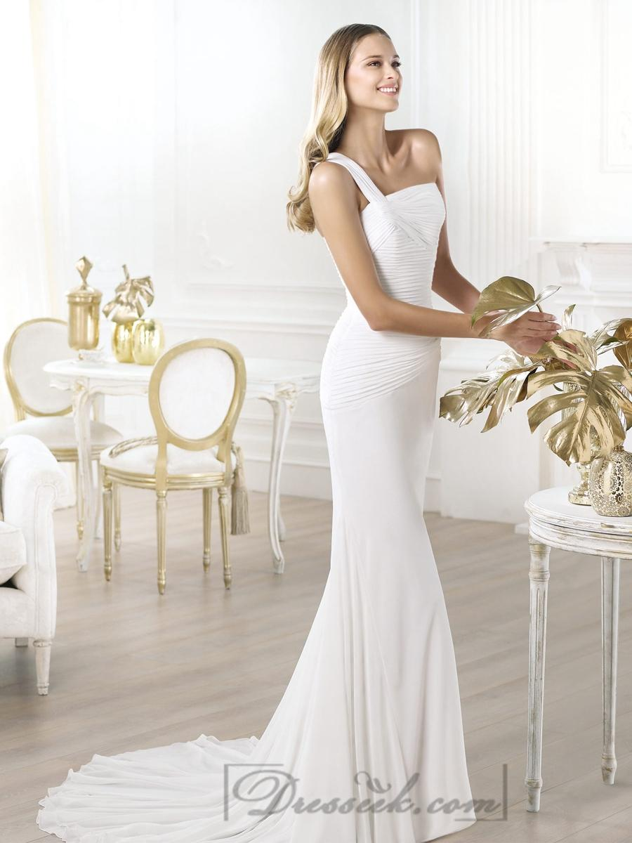 Wedding - One-shoulder Asymmetric Draped Bodice Wedding Dresses with Flared Skirt