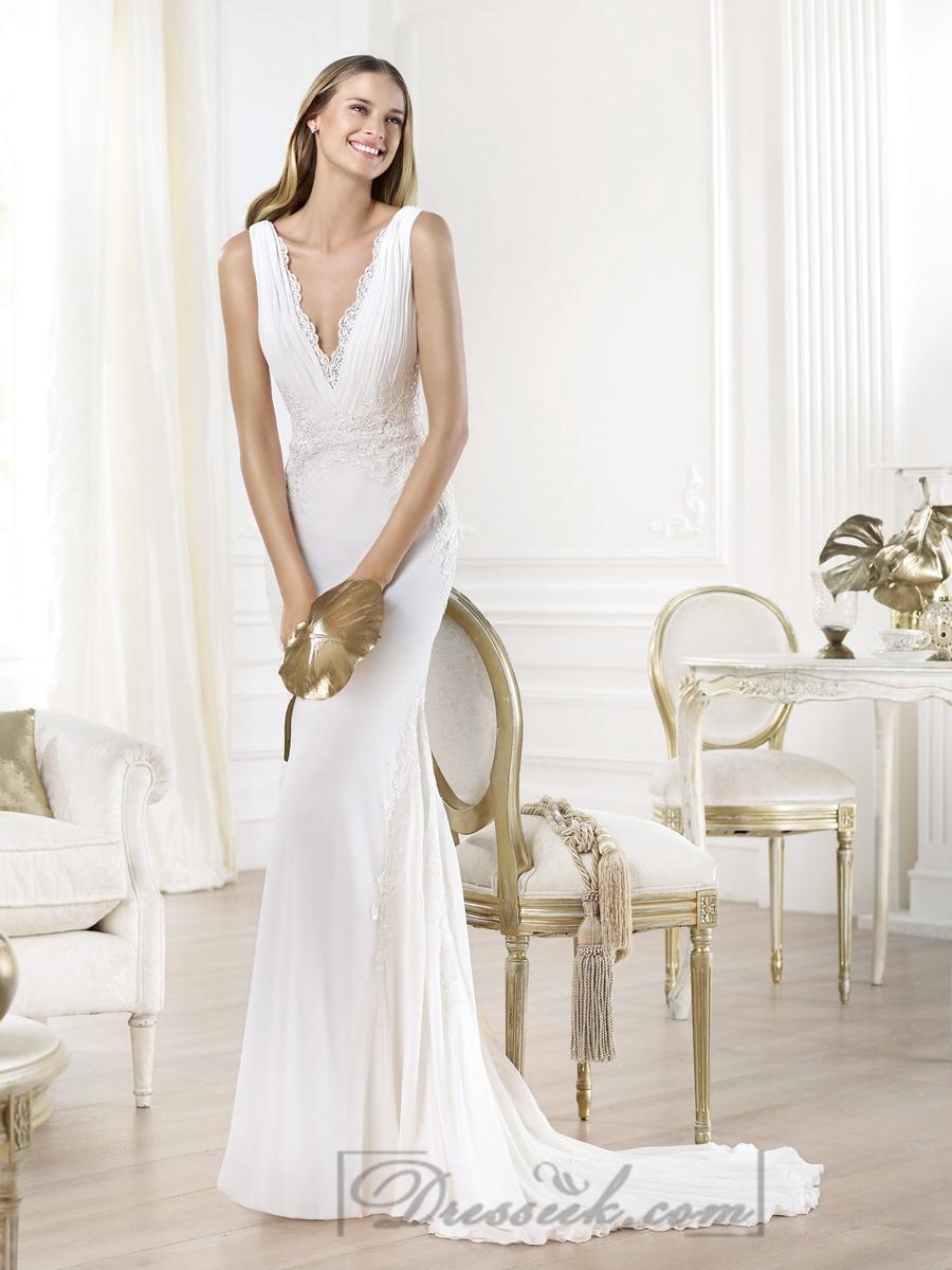 زفاف - Gorgeous V-neck And V-back Mermaid Wedding Dresses Featuring Applique