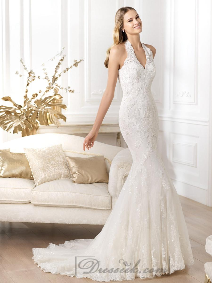 Exquisite Halter Neck Mermaid Wedding Dresses Featuring