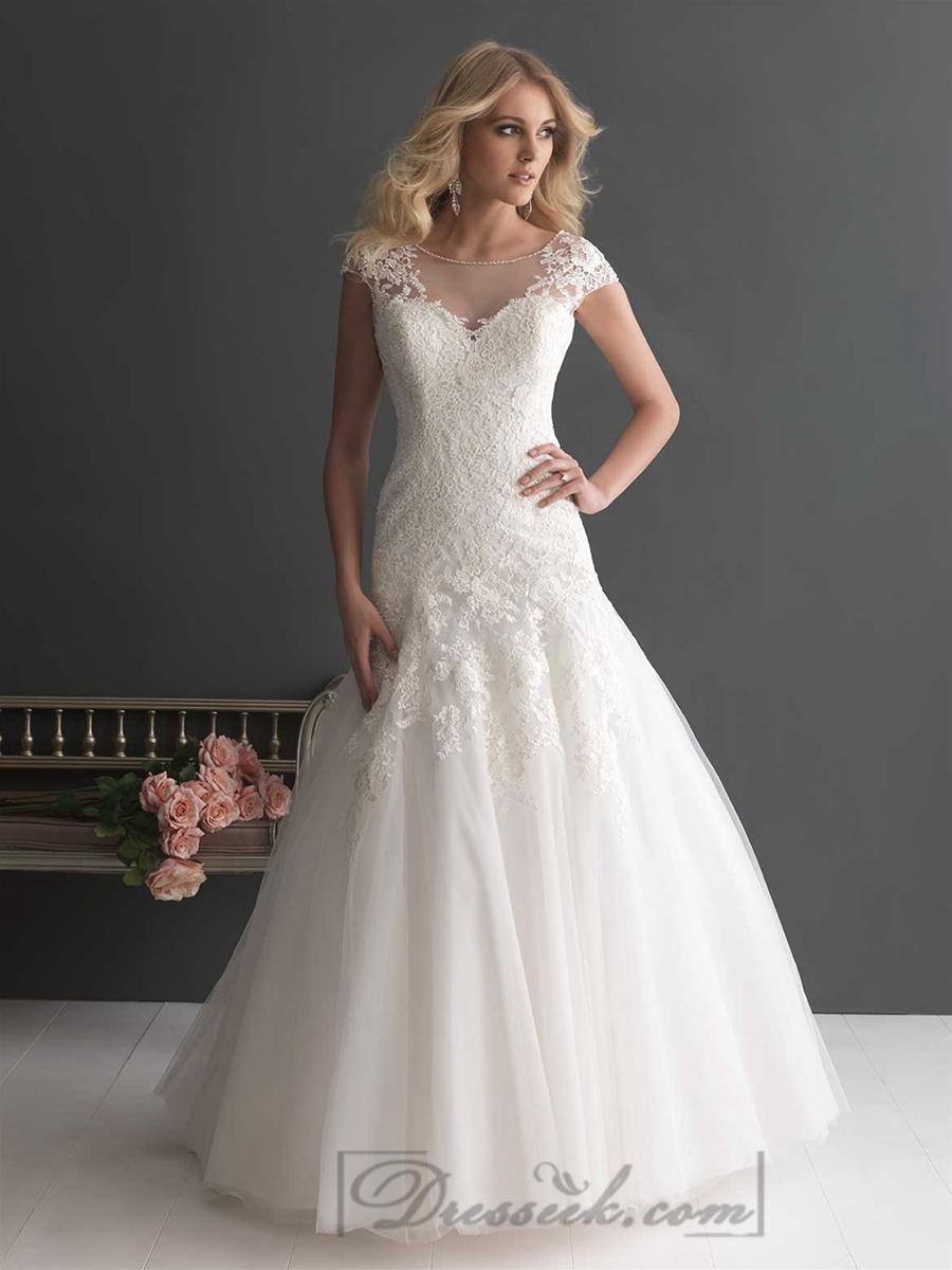 Elegant A-line Cap Sleeves Bateau Neckline Wedding Dresses With Deep ...
