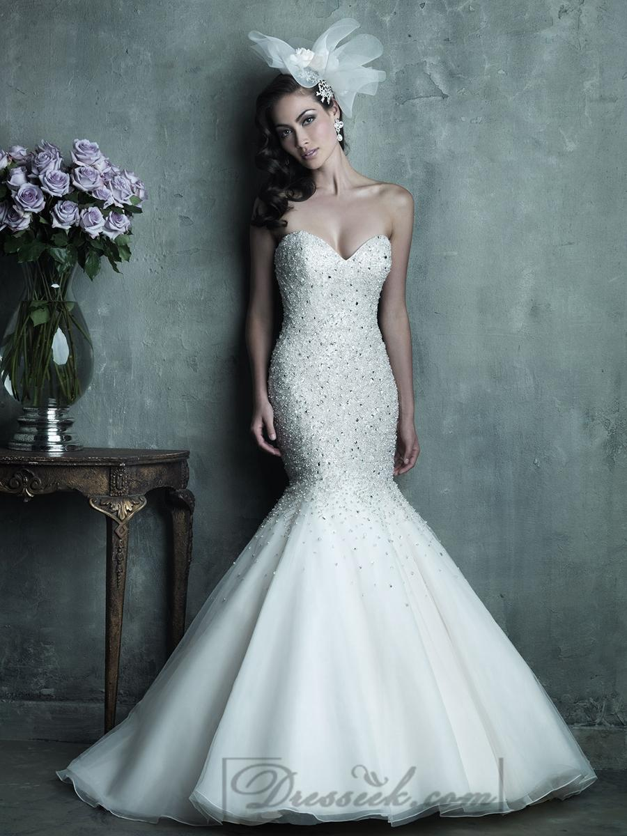 Hochzeit - Strapless Sweetheart Beaded Bodice Mermaid Wedding Dresses