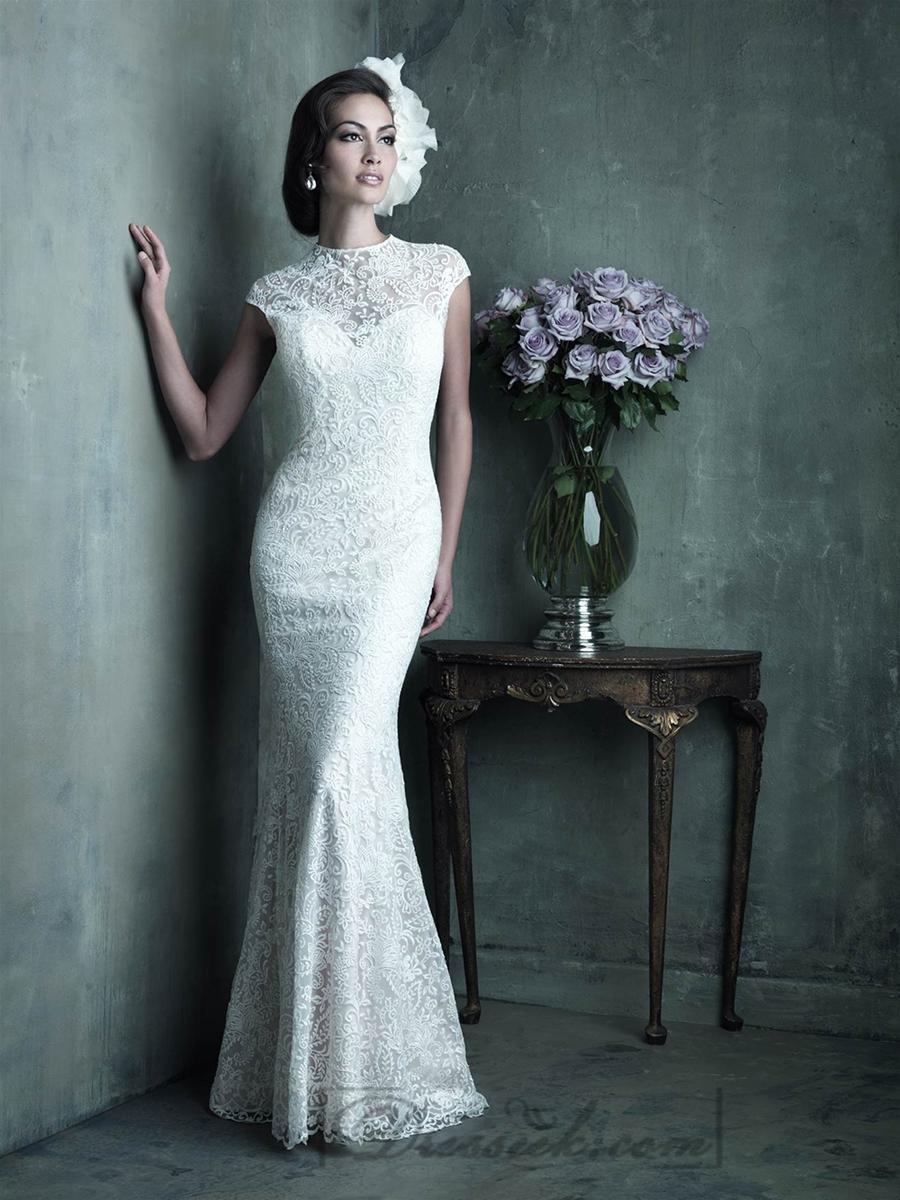Mariage - Elegant High Neckline Cap Sleeves Sheath Lace Wedding Dresses
