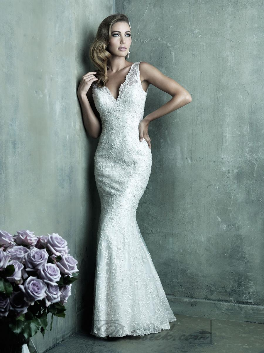 Dreamy Lace Sheath V Neck Wedding Dresses With Deep V Back 2197473 Weddbook