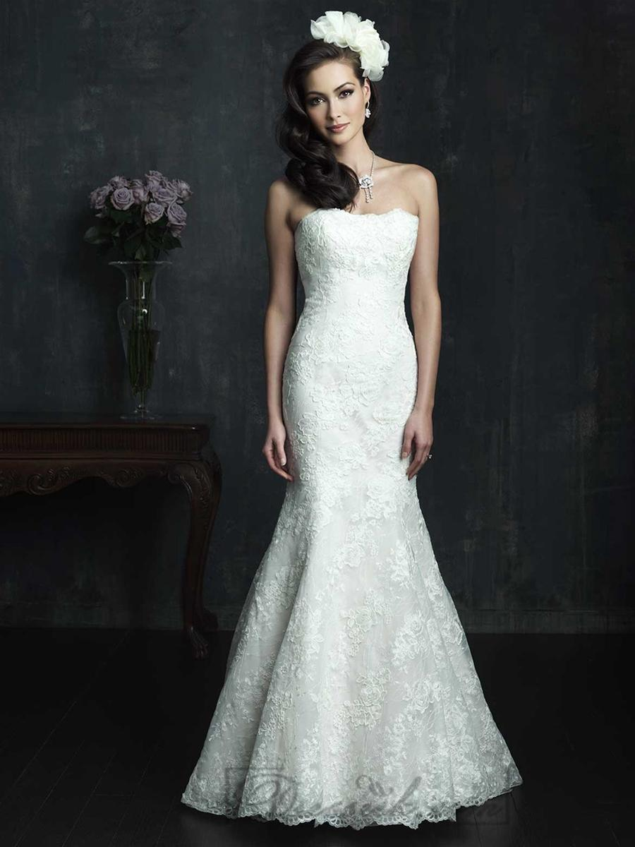Strapless slim line lace appliques mermaid wedding dresses for Slimming undergarments for wedding dresses