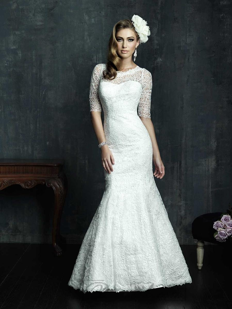 Mariage - Half Sleeves Scooped Neckline Wedding Dresses with Covered Sheer Lace Back