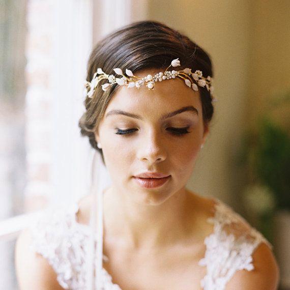 Wedding - Bridal Flower Crown, Circlet, Wedding Hair Accessory, Pearl Tiara, Ribbon Tie / Lily Style 1929
