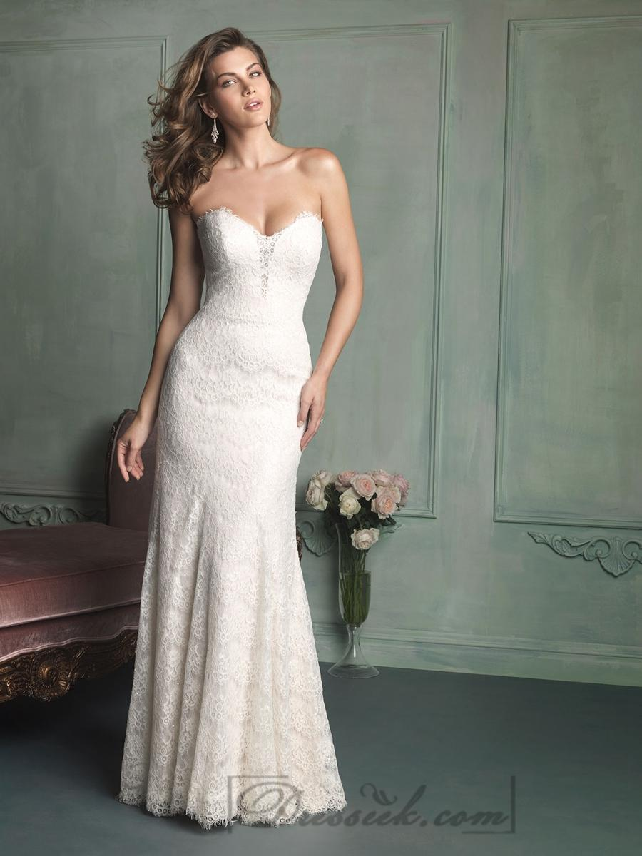 Wedding - Simple Strapless Sweetheart Floor Length Lace Wedding Dresses