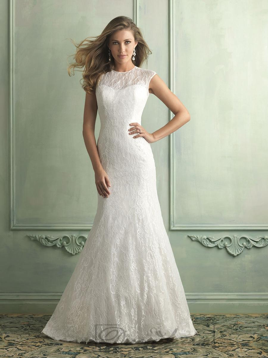 High neckline trumpet mermaid wedding dresses with keyhole for Wedding dresses for big chest